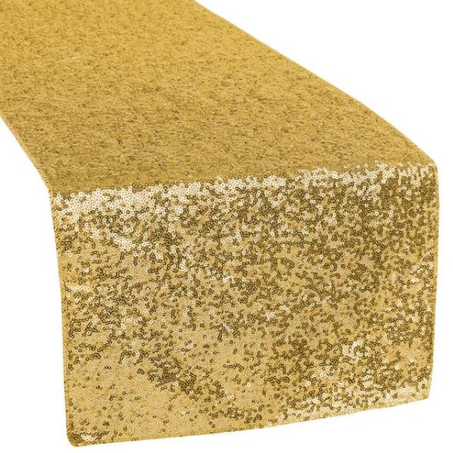 Where to find LINEN SUN TABLE RUNNER SEQUIN-GOLD in Mentor