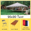 Rental store for PACKAGE-20X20 TENT LONG TABLES FOR 48 in Mentor OH