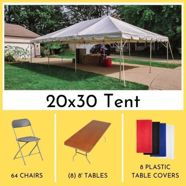 Package 20x30 Tent Long Tables For 64 Rentals Mentor Oh